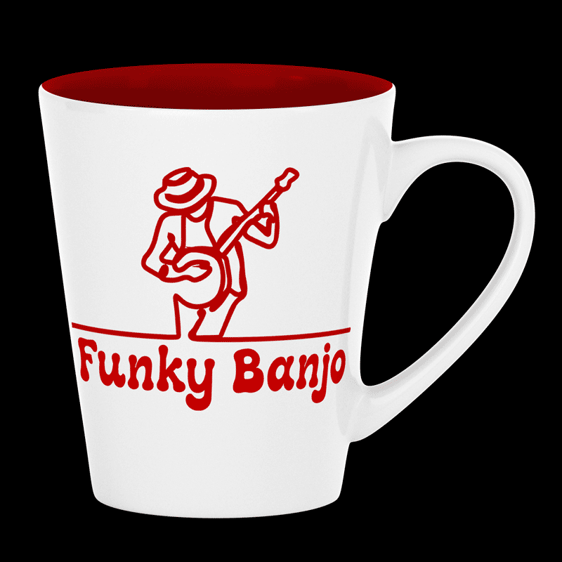 Coffee cup with our logo and site name (Funky Banjo).